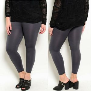 Charcoal Plus Size Fleece Leggings